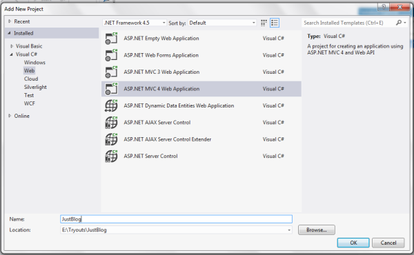 Create MVC 4 application